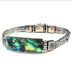 Sterling Silver Byzantine Chain Abalone Bracelet